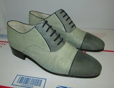 $ CDN397.16 • Buy Star Artioli Green Blue Leather Oxford Shoes Hand Made In Italy Mens US Size 10