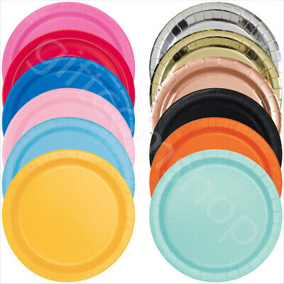 £1.80 • Buy 7/9 Inch Round Paper Plates Solid Colour Birthday Disposable Tableware Catering