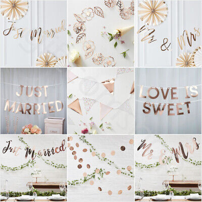 Vintage Wedding Bunting Banner Garland Rose Gold Hen Party Decorations Supplies • 6.90£