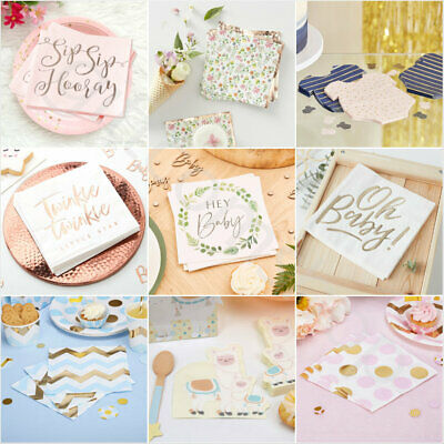 Baby Shower Napkins Serviettes Boy Girl Gender Reveal Party Disposable Tableware • 2.35£
