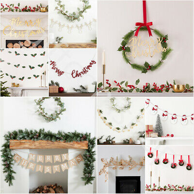 Vintage Merry Christmas Bunting Banner Garland Xmas Party Hanging Decorations UK • 4.39£