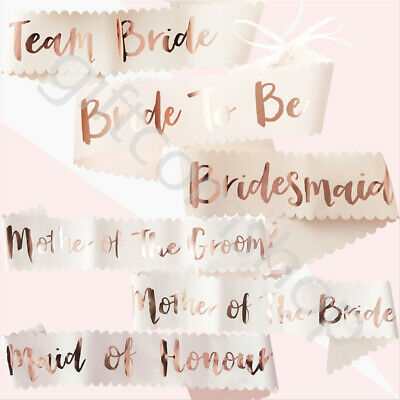 Pink & Rose Gold Team Bride To Be Sash Hen Party Accessories Bridesmaid Sashes • 5.39£