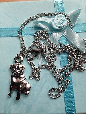 £7.99 • Buy Cute Pug  Silver 20 Inch Pendant Necklace Gift Bag Included.