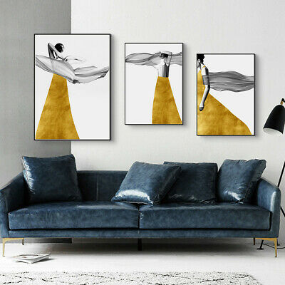 $1.88 • Buy Yellow Skirt Girl Modern Canvas Poster Unframed Picture Wall Painting Art Decor