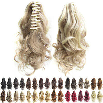 16  Women Synthetic Curly Claw Clip Ponytail Extension Wave Pony Tail Hair Piece • 4.69£