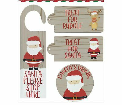 £4.25 • Buy Christmas Eve Wooden Door Hanger, Santa And Rudolf Treat Tags And Drink Coaster