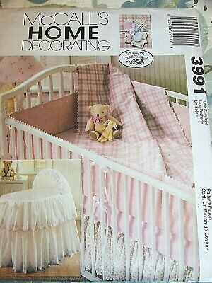 McCall's Pattern #3991 Baby Bassinet Cover, Comforter, Bumpers And Dust Ruffle • 7$