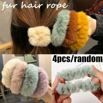 4pcs/lot Soft Fluffy Faux Fur Fuzzy Scrunchie Elastic Hair Ring Rope Accessories • 2.09$