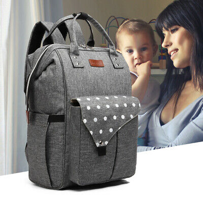 Polka Dot Backpack Nappy Changing Bag Diaper Maternity With USB Connectivity • 14.99£