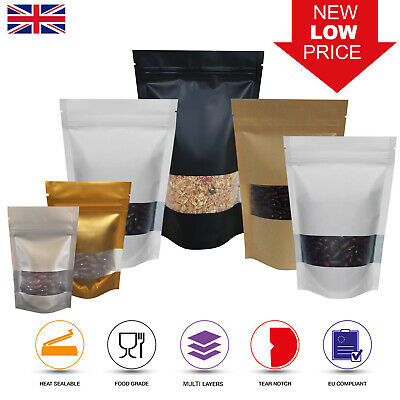 Window Matt Finish Foil Mylar Bag Stand Up Pouches Food Grade Heat Seal Zip Lock • 8.99£