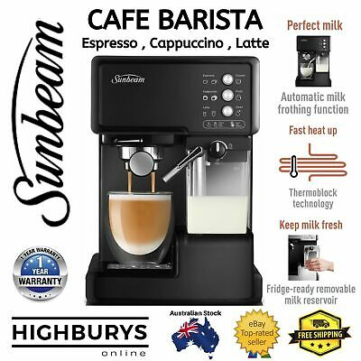 AU239.90 • Buy SUNBEAM Coffee Machine With Milk Frother Espresso Cappuccino Cafe Barista NEW