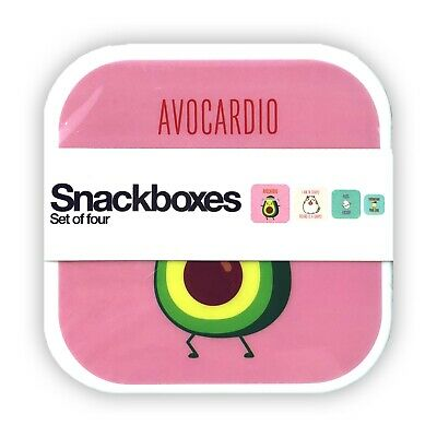 NEW! Avocardio Bento Lunch Box Set Of 4 Snack Case Food Container Exercise Theme • 10.85£