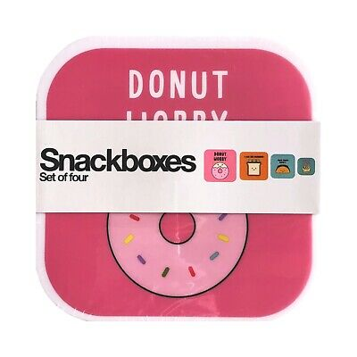 NEW! Donut Worry Bento Lunch Box Set Of 4 Snack Case Food Container Food Theme • 10.85£