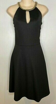 $ CDN63.29 • Buy Ivanka Trump Black Keyhole Gold Chain Halter Fit & Flare Dress NWT Sz.8