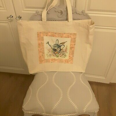 Hand Made New Large Canvas Tote Bag With Handmade Vintage Embroidery • 12.50£
