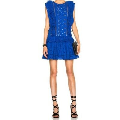 Zimmermann Hyper Eyelet Flip Dress Blue Sz 2 (US 8) • 180$