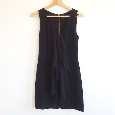 AU17.50 • Buy Forever New Womens Size 6 Black Silk Sleeveless Shift Dress Gathered Front Party