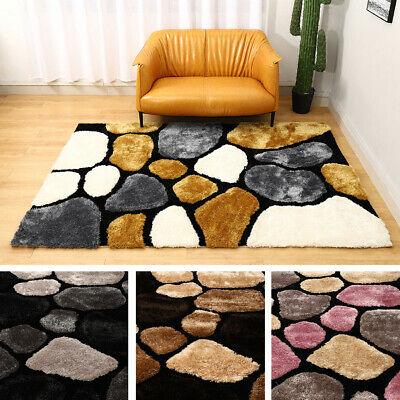 Large Thick Soft 3d Textured Pile Pebble Stepping Stones Shaggy Floor Mat Rug Uk • 143.95£