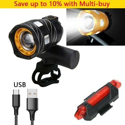 Rechargeable 15000LM XM-L T6 LED MTB Bicycle Lights Bike Front+Rear Headlight • 7.95£