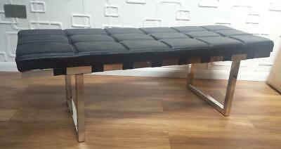 Dining Bench Seat Salon Waiting Retail Shop Office Faux Leather BLACK WHITE • 140£