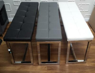 Modern Dining Bench Seat Salon Room Retail Ottoman BLACK WHITE Faux Leather • 108£