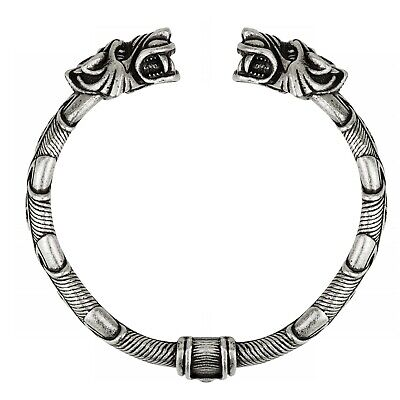 Men's Viking Wolf Fenrir Vintage Norse Cuff Bracelet Bangle • 14.99£