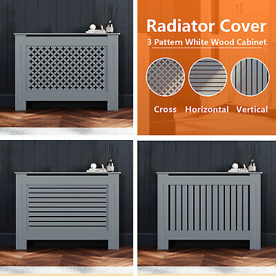 Grey Radiator Cover Horizontal Vertical Cross MDF Grill Wall Cabinet Furniture • 37.99£