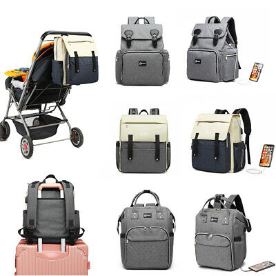 Mummy Nappy Changing Bag With USB Charging Port Baby Diaper Pram Clips Backpack  • 15.59£