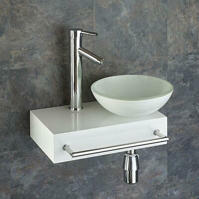 Cloakroom Wall Sink 400mm X 250mm Wooden Shelf With Glass Basin + Tap • 179£