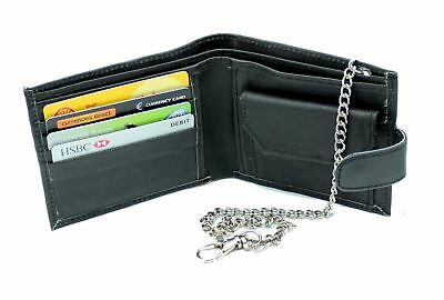 RAS Mens Real Leather Biker Coin Pocket Wallet With 40cm Key Belt Safety Chain • 5.99£