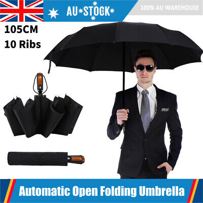 AU18.99 • Buy Black Compact Umbrella Automatic Folding Windproof Strong Travel Wind UV Proof