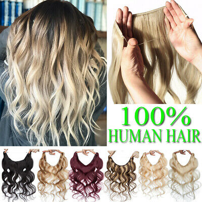 Russian Wire/Line In Remy Human Hair Extensions Hidden Headband Thick Skin Weft • 26.26£