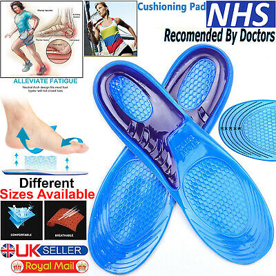 Shoe Insoles Arch Support Orthotic Silicone Gel Massaging Feet Heel Inserts Pads • 3.59£