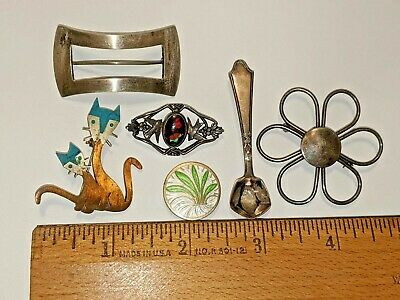 $ CDN67.32 • Buy 6 Lot Vintage Most Sterling Silver Pins Brooches Cats Buckle Spoon Floral More