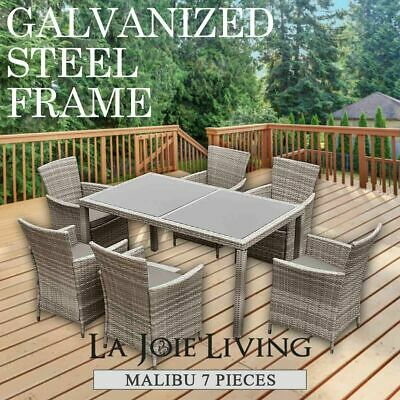 AU816.20 • Buy Outdoor  Dining Table Set Furniture PE Wicker Garden Patio Pool Setting BBQ 7PC