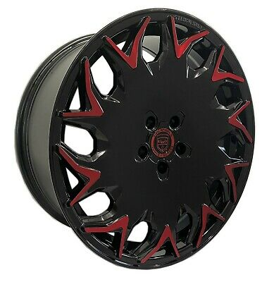 $649.99 • Buy 4 GV06 20 Inch Staggered Black Red Rims Fits JAGUAR S-TYPE 2000 - 2008