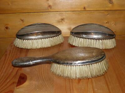 Antique Hallmarked 1905 Silver Set Of 3 Dressing Table Hair Brushes • 120£