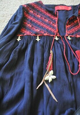 AU80 • Buy Reduced - Tigerlily  Seba Jacket   Navy Red Embroidery As Nwot Size 8