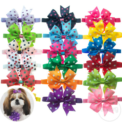 Polka Dot Ribbon Bow Adjustable Puppy Kitten Collar Neck Tie Cat Pet Cute Outfit • 3.39£