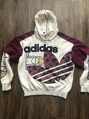 $150 • Buy Vintage ADIDAS HOODIE Descente SWEATER TREFOIL BASKETBALL RARE MENS Size M-L