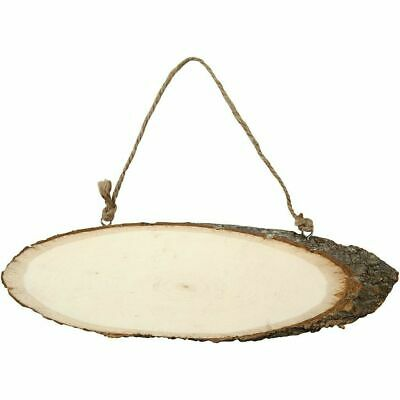 Plain Blank Wooden Log Slice Sign Wood Plaques - With Hanging Jute Rope Plaque • 3.75£