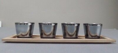 Set Of 4 Modern Glass Tea Light Holders In Wooden Candle Tray • 10.99£