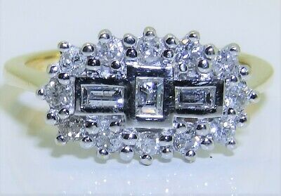 18ct 0.5ct Baguette Diamond Boat Cluster  Ring 18 Carat Yellow Gold Size K 1/2 • 425£