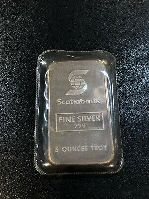 $ CDN275 • Buy 5 Oz Scotia Bank Johnson Matthey Bar - Limited Mintage ~500 In Original Plastic
