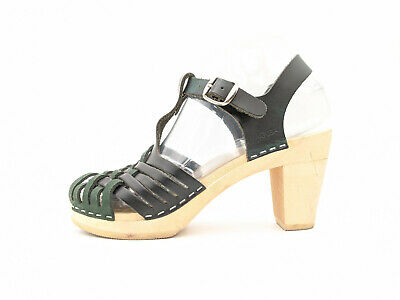 $43.85 • Buy Maguba Palma Black Green Leather Strappy Wood Sandals Women 6 - 6.5 /36