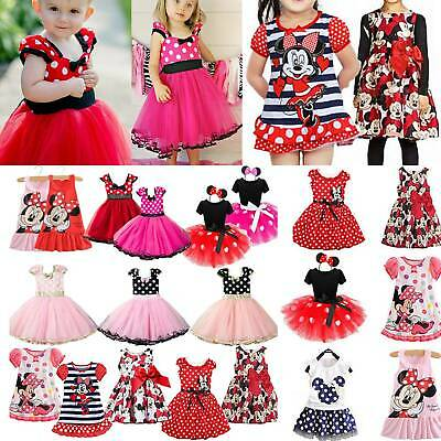 Princess Minnie Mouse Toddler Kids Tutu Tulle Skirt Party Dress For Girl Clothes • 9.78£