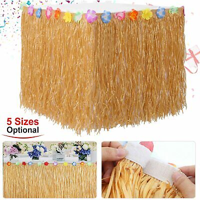 Natural Grass 1-5m Hibiscus Table Skirt Luau Beach Moana Birthday Party Decor UK • 6.57£