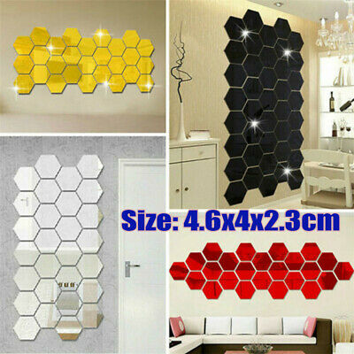 3D Mirror Tiles Mosaic Wall Stickers Self Adhesive Bedroom Art Decals Home Decor • 5.99£