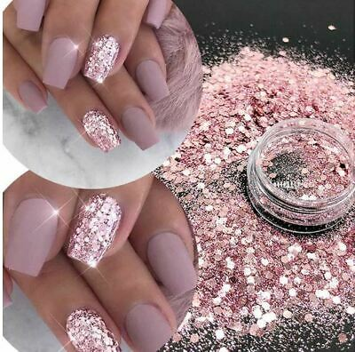 Chunky Nail Art Glitter Pot Nail Gel Art Manicure Face Body Craft UK 25 Designs • 2.29£