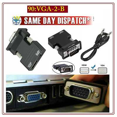 HDMI Female To VGA Male With Audio Output Cable 1080p Converter Adapter Lead • 3.89£